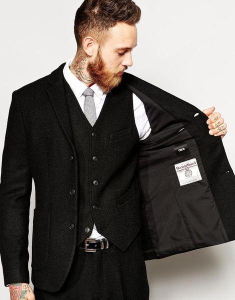 Latest Design Winter Black Tweed Men Suit Slim Fit 3 Piece Fashion Tuxedo Custom Style Suits Groom Prom Blazer Masculino