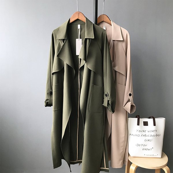 Spring Thin Mujeres Trench Coat Cazadora larga Khaki Green Red Trend Cardigan Slim Trench largo T190824
