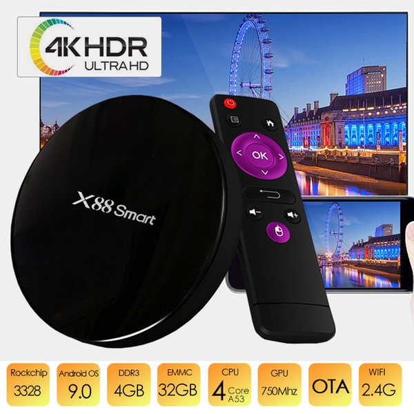 X88 Akıllı TV Kutusu ucuz 4 gb 32 gb Android 9.0 RK3328 H.265 4 K HDR Video Dekoder yüksek hızlı Wifi android internet kutusu akıllı tv