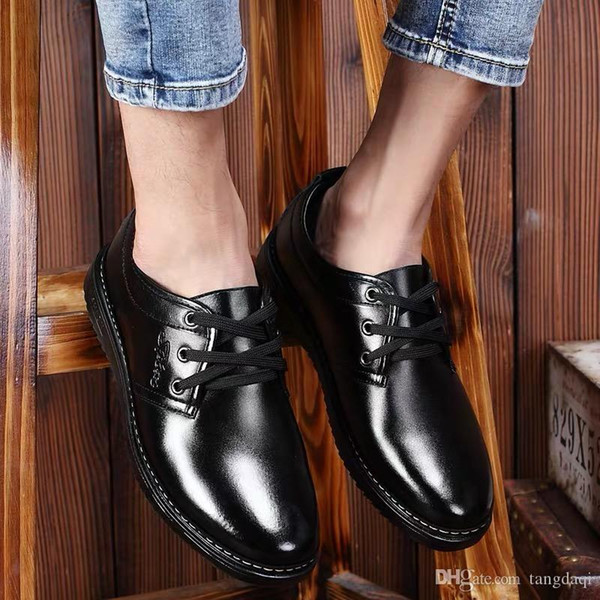 Men's casual leather shoes 2019 Spring new business fashion shoes men are wearing shoeSemi-lacustrine smooth cortexs