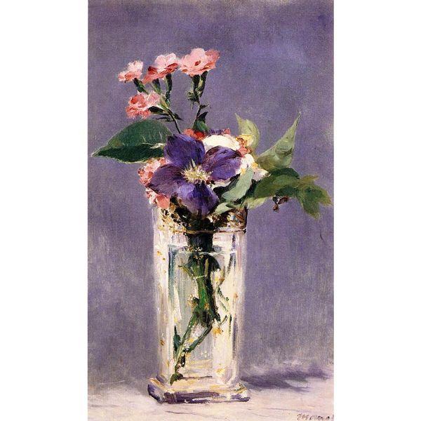 Acquista Bel Fiore Dipinto Ad Olio Di Edouard Manet Rosa E Clematis ...