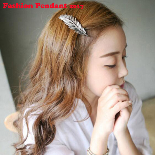Women Gold/Silver Leaf Feather Hair Clip Hairpin Barrette Bobby Pin Hair Styling Tools Ornament Accessories
