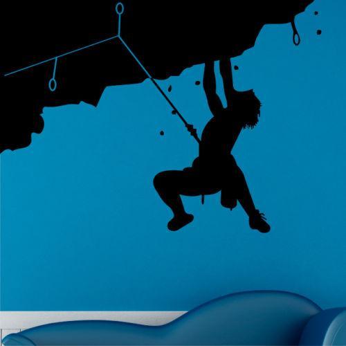 Escalada de rocha adesivos de parede homens montanhista alpinista arte escaladores de vinil arte mural decal casa acessórios de decoração