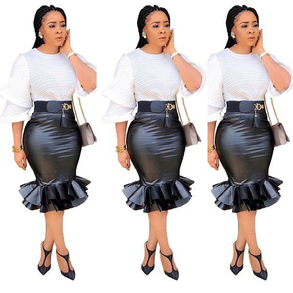 Sexy мешок хип рыбьего хвоста юбки моды черная кожа юбка женская юбка без пояса