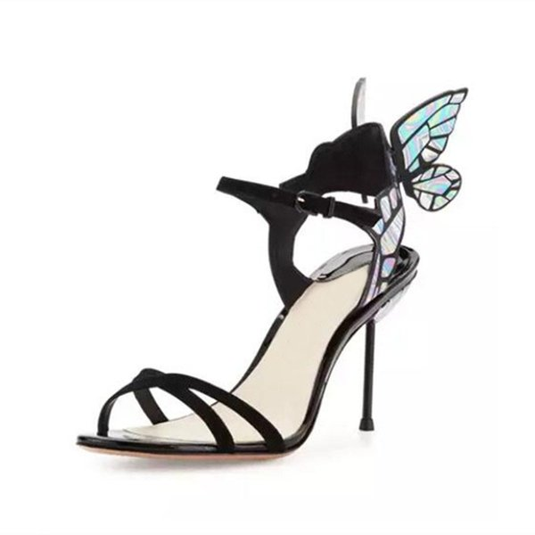 Hot Sale-Webster Dream Butterfly wings sandals Gladiator ankle strap high heels open toe angel winged pumps wedding party sandals shoes