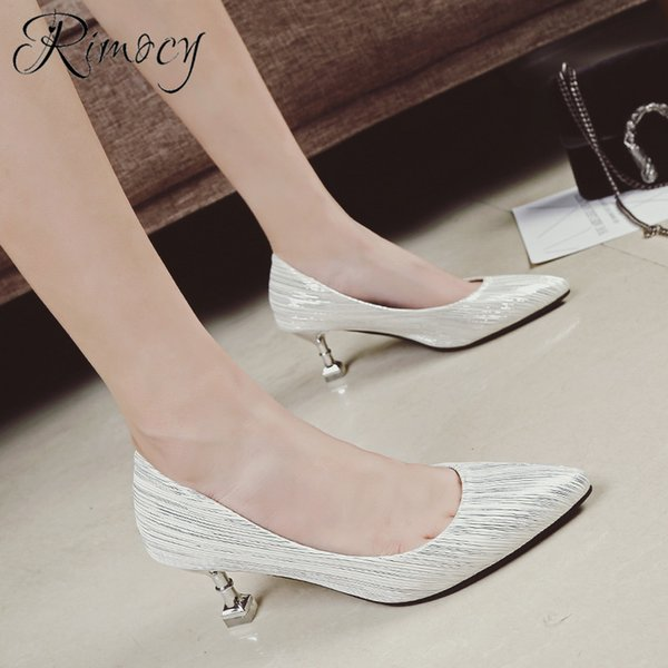 Dress Shoes Rimocy Silver Woman High Heels Pumps 2019 Spring New Stiletto Plointed Toe Single Party Wedding Elegant Pumps