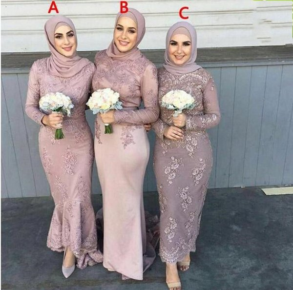Saudi Arabic Muslim 2019 New Bridesmaid Dresses Lace Appliques Beaded Long Sleeves Back Zipper Formal Bridal Gowns vestidos de novia
