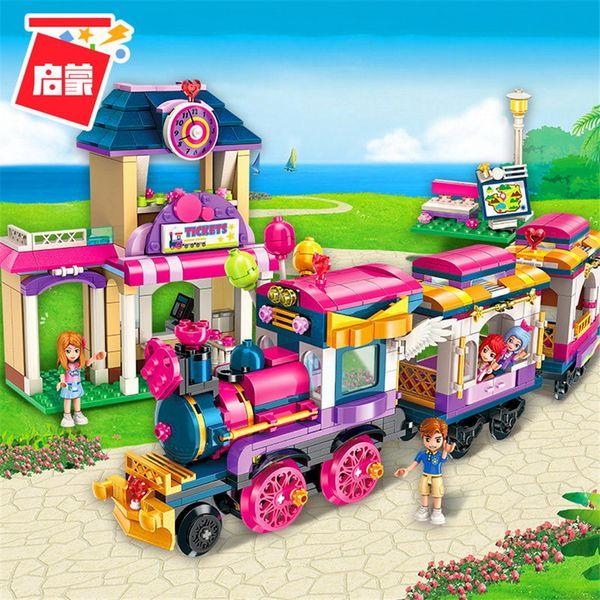 ENLIGHTEN Meninas Da Cidade Princesa Mover Maersk Train Car Blocos de Construção Define Tijolos Modelo Crianças Clássicos Compatíveis Legoings Amigos