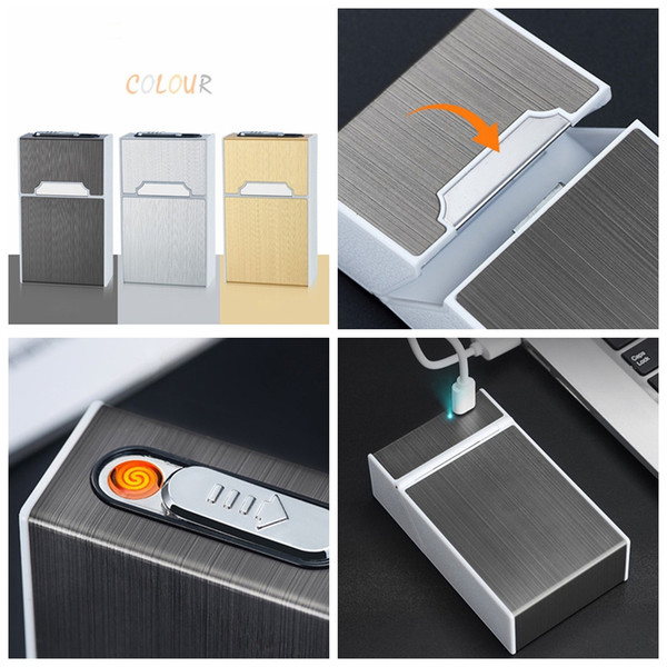 Colorful USB Lighter Cigarette Cases Shell Casing Storage Box Aluminum Plastic Exclusive Design Portable Magnet Switch Hot Cake