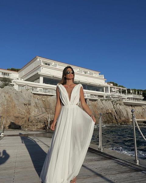 White Sexy Prom Dresses 2019 Long A Line Deep V Neck Floor-Length High Side Split Lace Elegant Long Evening gowns Formal robes de soirée