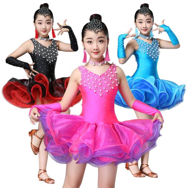 New black blue rose Red dança latina vestido para meninas criança dança latina competição vestidos meninas salsa trajes