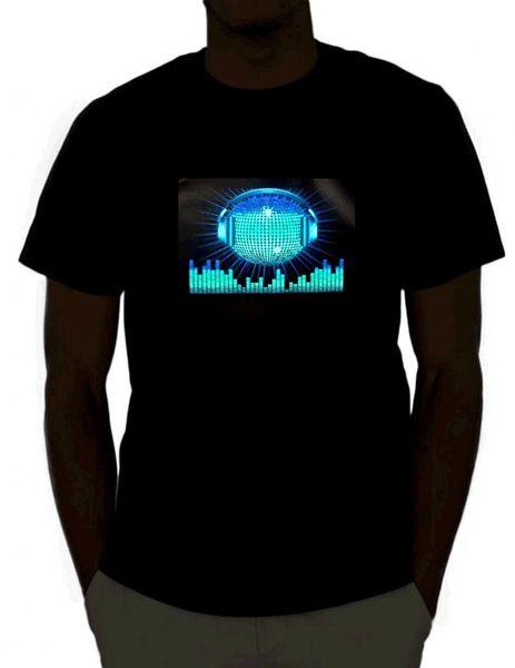 DJ Som Ativado Light Up Rave T-Shirt para O Homem Hipster O-Causal Cool Tops Fotos Interessantes Camiseta