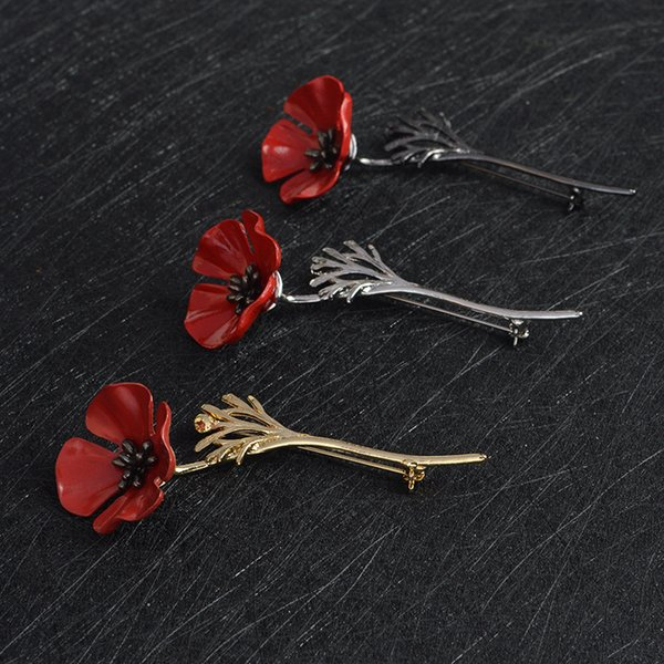Red Poppy Flower Squid Brooch Pin Collar Corsage Gold Silver Black Pins Shirt Badge Vintage Jewelry Gift for Women