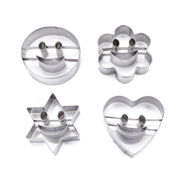 Smiling Face Biscuit Cookie Cutter Cake Decor Mould DIY For Kitchen Baking Supplies 4Pcs Stainless Steel