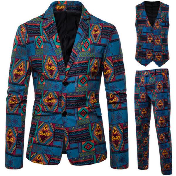 3PCS Erkek Moda Baskılı Suit Set Slim Fit Retro Etnik Stil Parti 3 Adet Ceket Ceket Pantolon Yelek Sıcak İnce Suit Suit