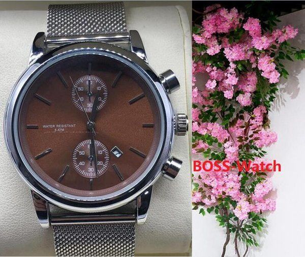 erkekler İyi Valentine Hediyesi için Sıcak Erkek Saatler Paslanmaz Çelik Kuvars saatı Kronometre Lüks İzle En Çok Satan relogies