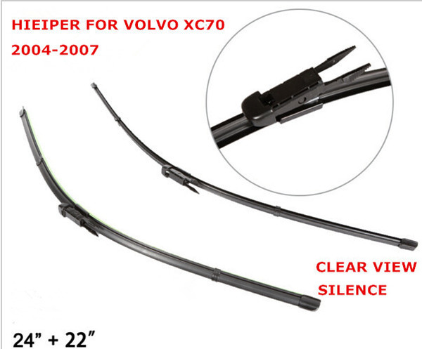 "Free shipping Car windshield wiper blade for Volvo XC70 2004-2006 24""+22"", natural rubber, frameless wiper car accessories 2PCS"