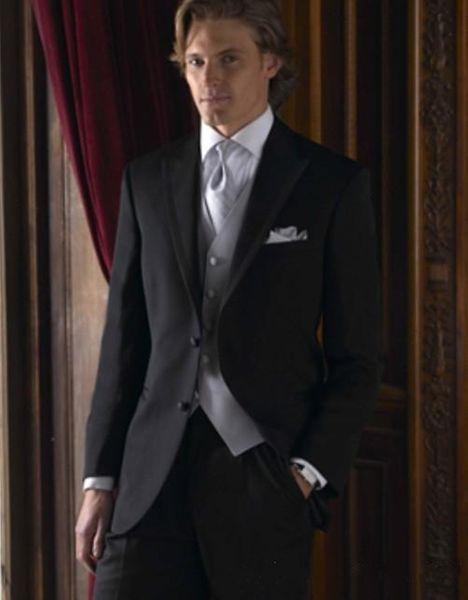 New Design Black Groom Tuxedos Groomsmen Best Man Suits Mens Wedding Blazer Suits (Jacket+Pants+Vest+Tie) 1133
