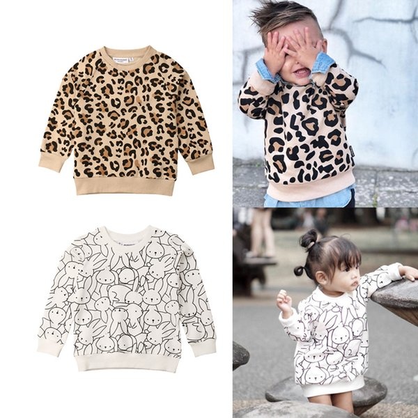 top popular Autumn Winter Children Kids Clothes Baby Boy Girl Sweater Leopard Print Fashion Cute Toddler Sweaters 1-7 Years 2021