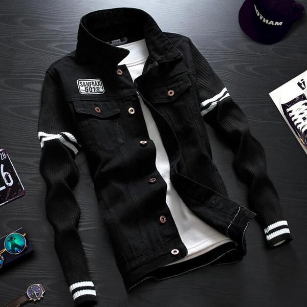 Wholesale- Men Knitted Sleeve Denim Jacket Embroidery Badges Embellished Mens Jean Jackets Korean Fashion Denim Coat Free Shipping