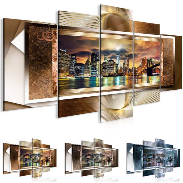 Unframed 5 Panels Home Decor Pictures Wall Art Painting Prints of Manhattan Brooklyn Bridge Artwork --Modern City Painting