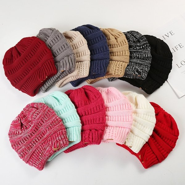 top popular 36 styles Brand Winter pony tail Adult Warm knitted Caps Casual Sports Hats Thicken Crochet Ski Baseball solid confetti Beanie Caps 2019