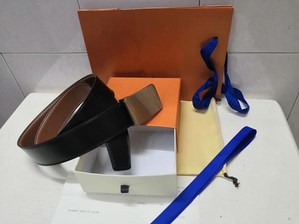 2019 hombres y correas de cuero de las mujeres de cuero de alta calidad cinturones de cuero diseñador de moda los cinturones de lujo de los hombres envío libre + caja