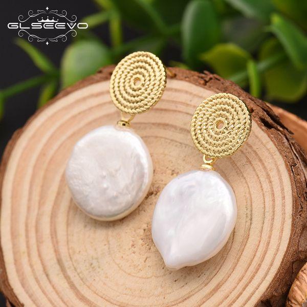 Glseevo Blanc Naturel Eau Douce Baroque Perles Rond Cercle Boucles D'oreilles Pendant Pour les Fiançailles Fiançailles Bohême Dangle Boucles D'Oreilles Ge0293 J190628
