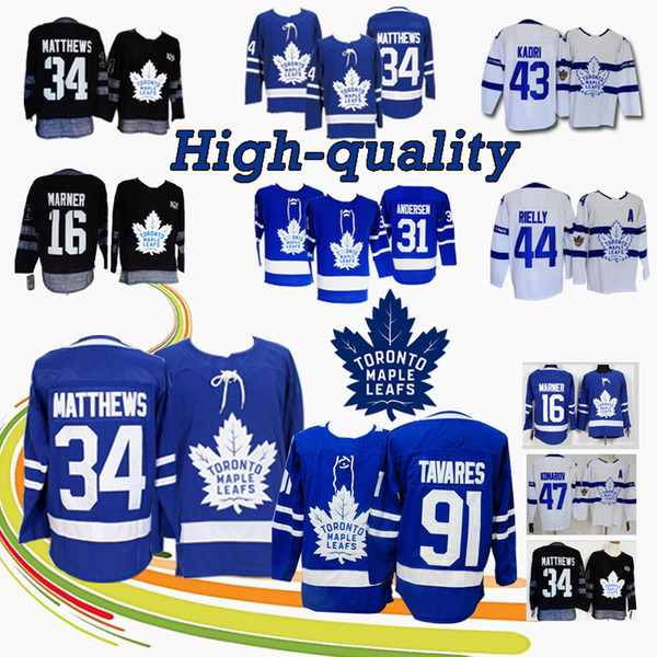 HoT Toronto Maple Leafs Trikots 91 John Tavares 16 Mitch Marner 34 Auston Matthews 29 William Nylander 31 Frederik Andersen Eishockeytrikot