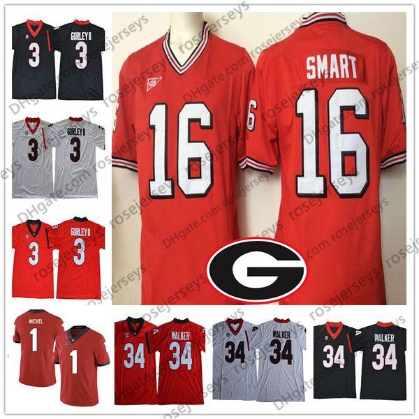 1164daeec Vintage Georgia Bulldogs #16 Kirby Smart Jersey 3 Todd Gurley II 34 Herchel  Walker College