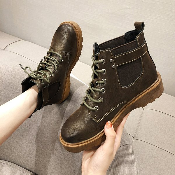 Shoes Fashion Boots Woman Martins For Women Clogs Platform Lace Up Booties Ladies Round Toe Punk Ankle Rock Rubber 2019 Autumn