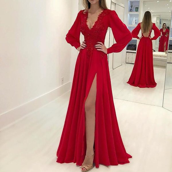 Sexy Red Chiffon Prom Dresses Custom Sequins Appliques Long Sleeves Evening Dress Floor Length Deep V Neck Side Split Woman Formal Gowns