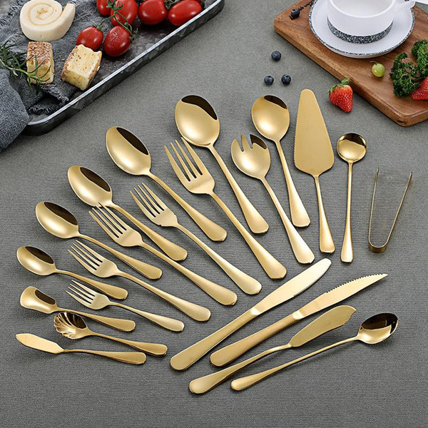 top popular Gold Color Stainless Steel Tableware Set Spoons Coffee Spoons Ice Spoon Steak Knife Fork Spoon Western Tableware Flatware 2021