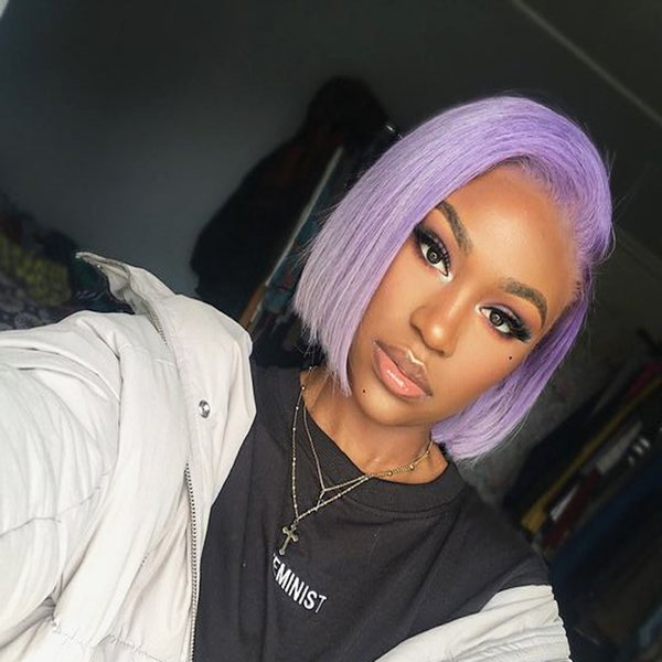 Bob Full Lace Short Human Hair Wigs For Black Women Purple BOB Straight Lace Front Wigs Pre Plucked Indian Virgin Hair