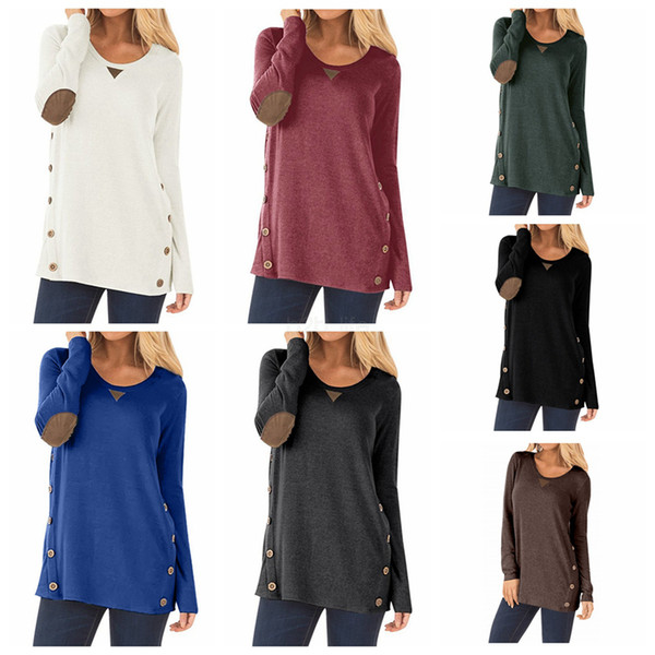 Women Casual Long sleeves Shirt round neck Shirt Tee Tops double row button Pullover patchwork T-shirt clothing LJJA2678