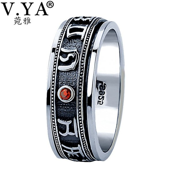 V.ya Vintage Thailand Thai Ring For Men Om Mani Padme Hum 925 Sterling Silver Male Rings Mens Jewelry C19041101