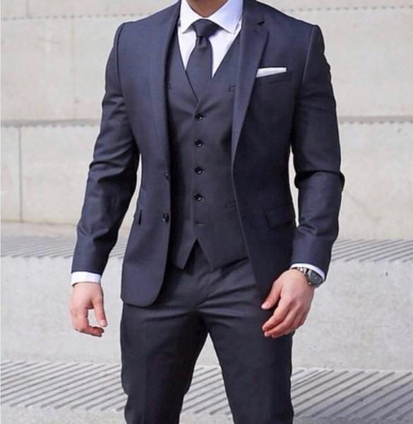 Classy Formal Wedding Tuxedos Groom Suits 2019 New Custom Made Business Yong Man Prom Attire Three Piece Set (Jacket + Pants + Vest+Tie )