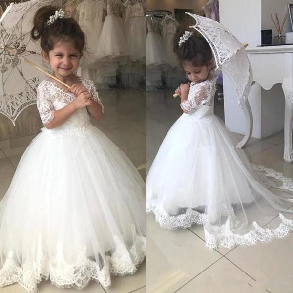 Güzel Çiçek Kız Elbise Düğün İçin Yarım Kol V Yaka Dantel Aplikler Sweep Tren Çocuk Doğum Günü Partisi Önlük ilk komünyonu Elbise BC2526