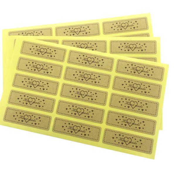 "750PCS/lot Kraft ""Hand made "" love Handmade Cake Packaging DIY Multifunction Seal Sticker Gift Label"
