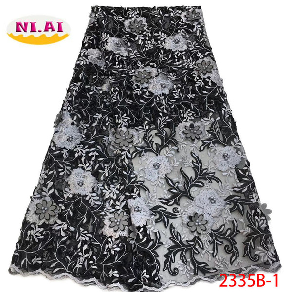 African Lace Fabric 2018 Embroidered Nigerian Laces Fabric 2018 High Quality French Tulle Lace Fabric For Women Dress XY2335B-1