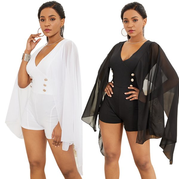free shipping 2019 Sexy fashion bat sleeve chiffon long sleeve jumpsuit cape black and white sexy v neck jumpsuit