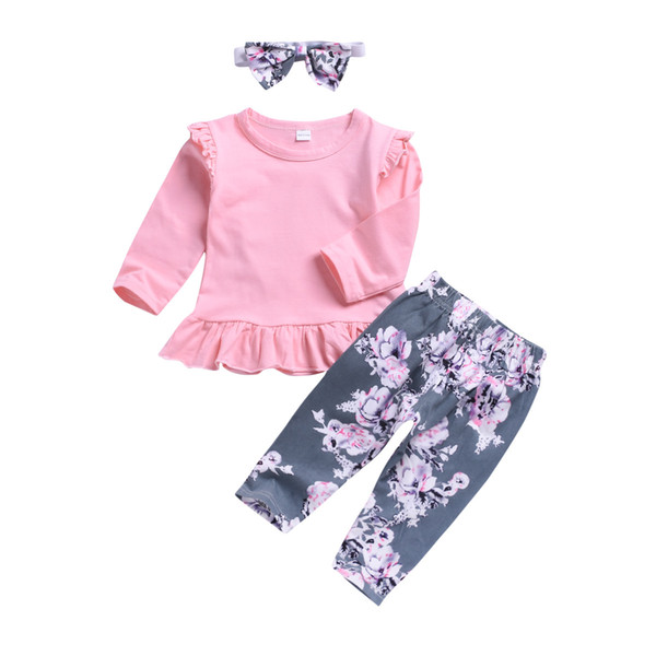 a92f836b3dd63 kids designer clothes Toddler Baby Girls Ruffle T-Shirt Tops + Floral Long Pants  Leggings