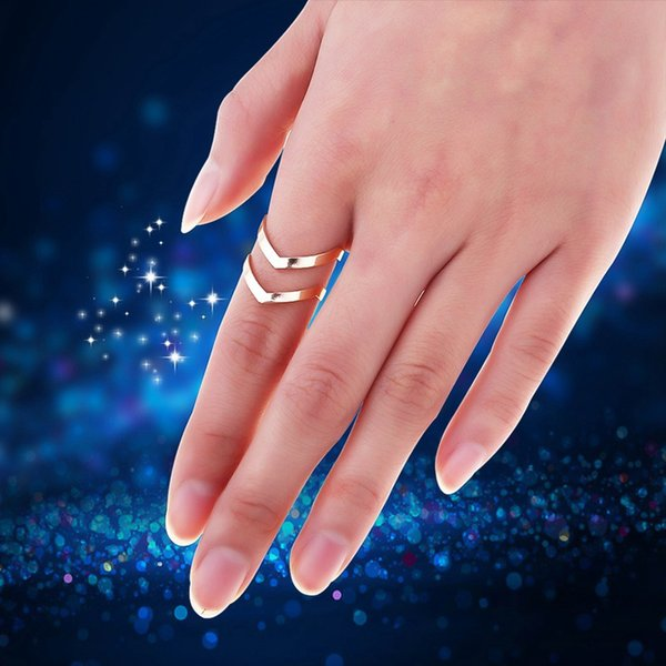 Fashion Gold Silver Plated Double V-shaped Half Opened Adjustable Vintage Woman Rings Charming Jewelery