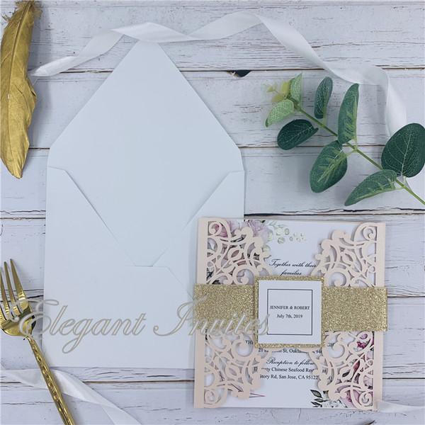 Laser Cut Wedding Invitations Blush Card Lace Elegant Greeting