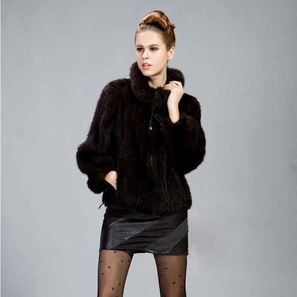 Sonbahar ve kış Gerçek hakiki doğal örme ceket kadın moda örme ceket bayanlar palto dış giyim