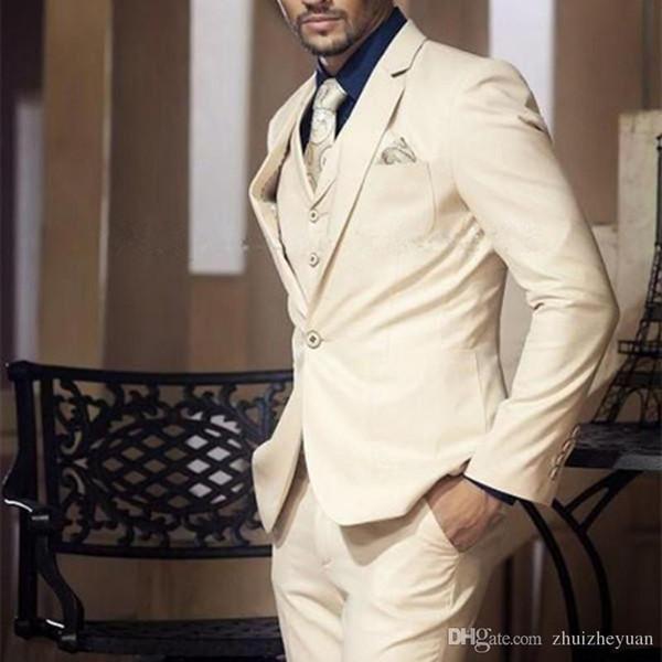 Abiti moda uomo beige Abiti taglie forti per uomo Abiti da lavoro Abiti uomo su misura Slim Fit (Jacket + Vest + Pant)