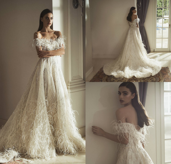 2019 Idan Cohen Feather Wedding Dresses Off The Shoulder A Line Sweep Train Sequins Bohemian Wedding Dress Custom Made Luxury Bridal Gowns
