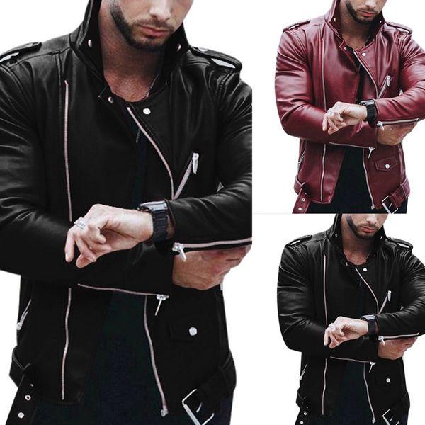 Oeak 2019 Sonbahar Deri Erkek Ceket Moda Stil Uzun Kollu Standı Yaka Ceket Kış Fermuar Patchwork Faux Deri Giyim