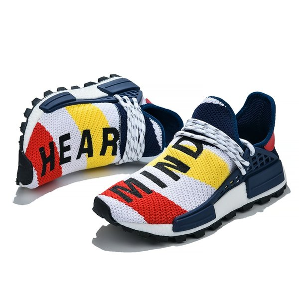 NMD Sneakers Pharrell Williams NMD Human Race Running Shoes BBC Solar Pack Blue Nerd Heart Mind Mens Women Nmds Jogging Shoe Size 36 47 Good Running