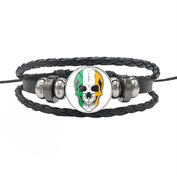 Ireland National Flag World Time Gem Glass Cabochon Skull Series Button Bangles Genuine Leather Rope Beaded Bracelets Women Men Jewelry Gift